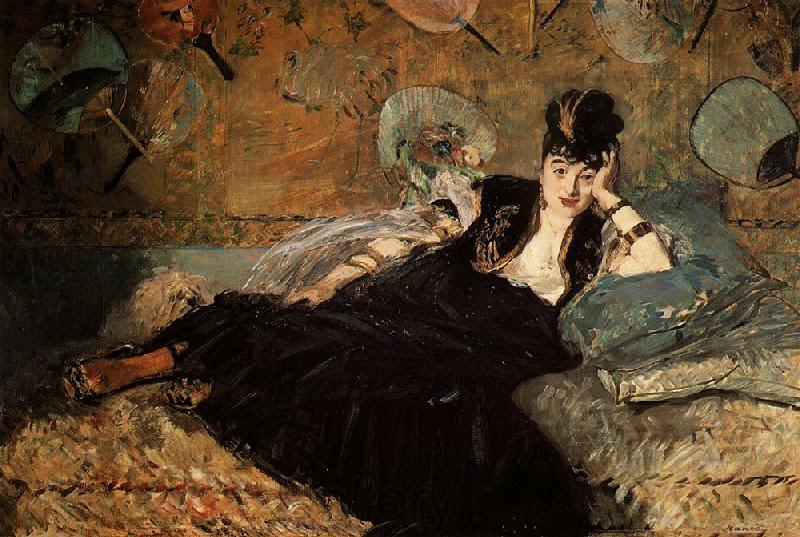 Mulher com Fãs - Pinturas impressionistas pintadas por Édouard Manet