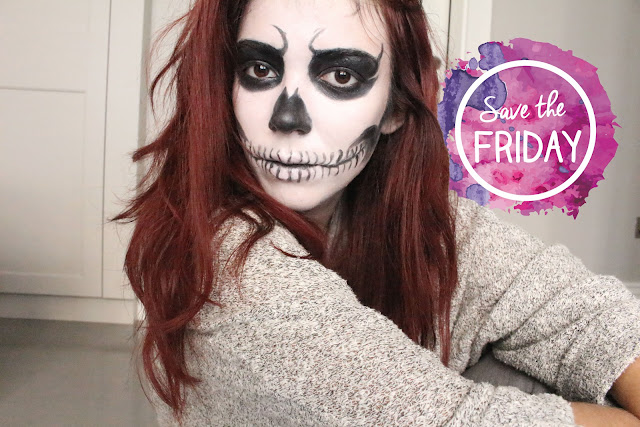 skull girl makeup, halloween makeup, claire's, red hair, blog, tuto, skull makeup, skull girl, enjoyk,