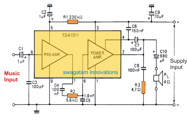 6 watt Audio Amplifier Using TDA1011
