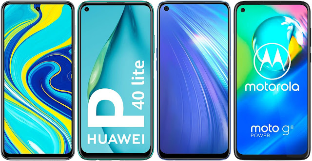 Xiaomi Redmi Note 9S 128 GB vs Huawei P40 Lite vs Realme 6 128 GB vs Motorola Moto G8 Power