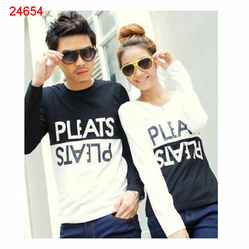 Jual Sweater Couple Sweater Pleats Hitam Putih - 24654