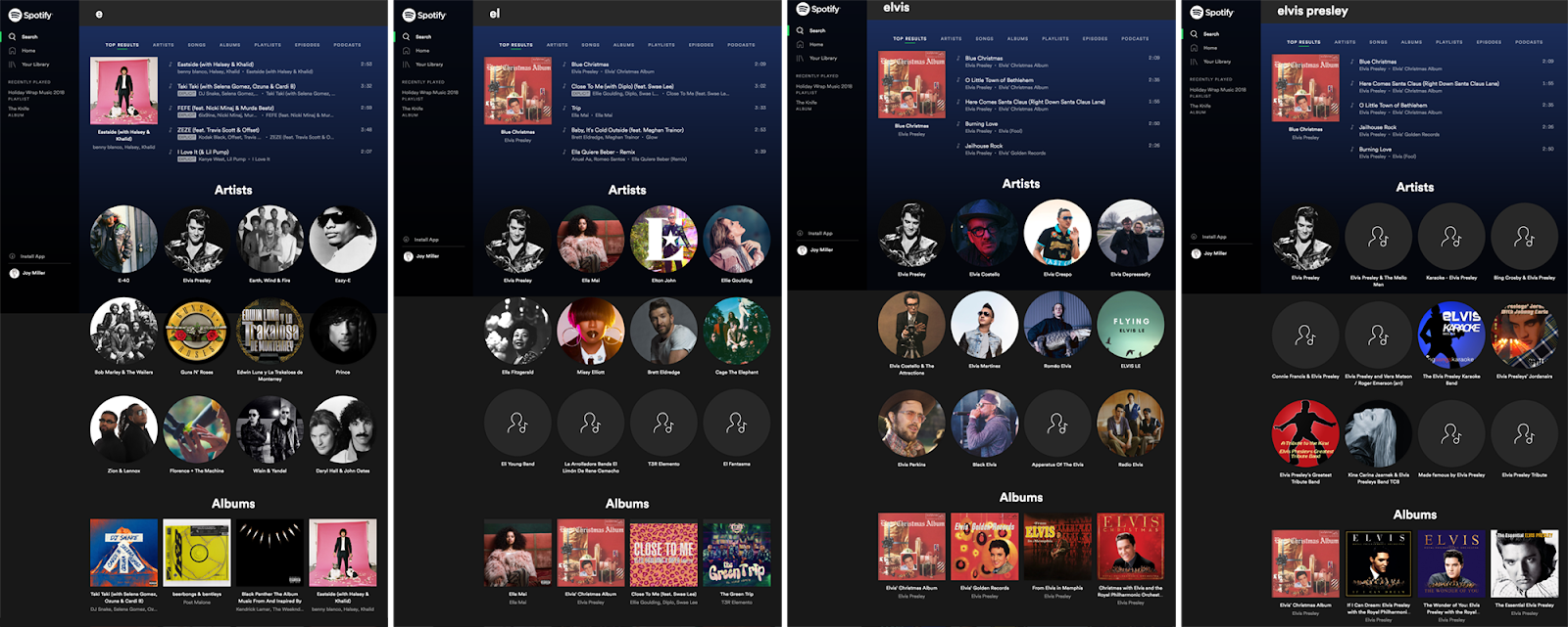 Spotify uses predictive search to help users find what they're looking for quickly