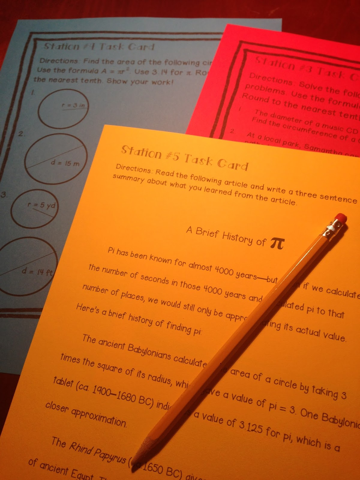 Kelly McCown: Pi Day Middle School Math Stations