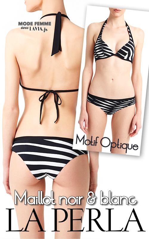 Maillot 2 pièces triangle armature Noir & Blanc imprimé optique et graphique Op Art LA PERLA