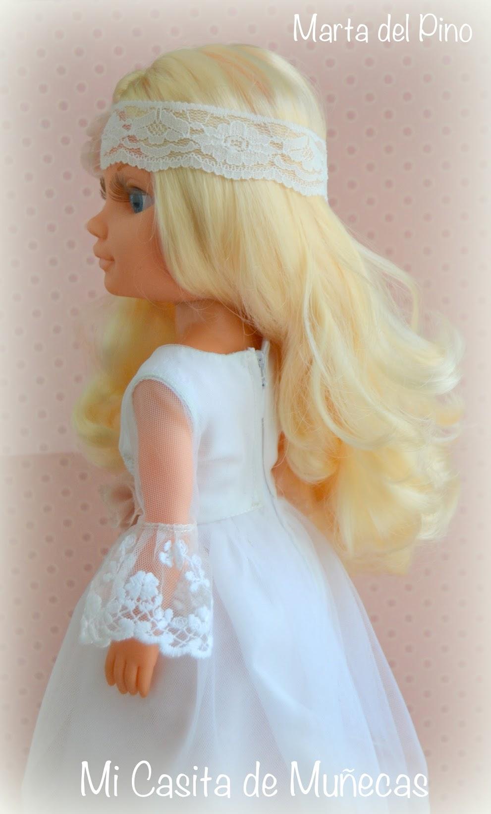 Nancy y sus vestidos, vestido de comunión, muñeca de comunión, nancy comunión, Mi Casita de Muñecas, Marta del Pino,