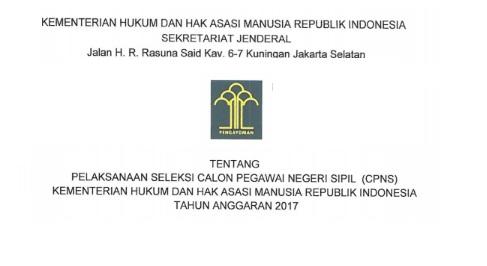 Lowongan Kerja CPNS Kementerian Hukum dan HAM