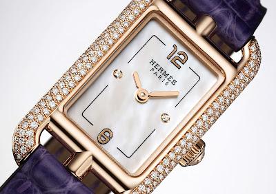 Hermès Nantucket TPM (Très Petit Modèle) watch diamond set rose gold case