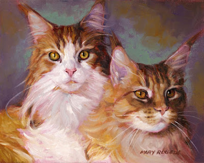 Art by Mary Rochelle Burnham: Maine Coon Cat Buddies