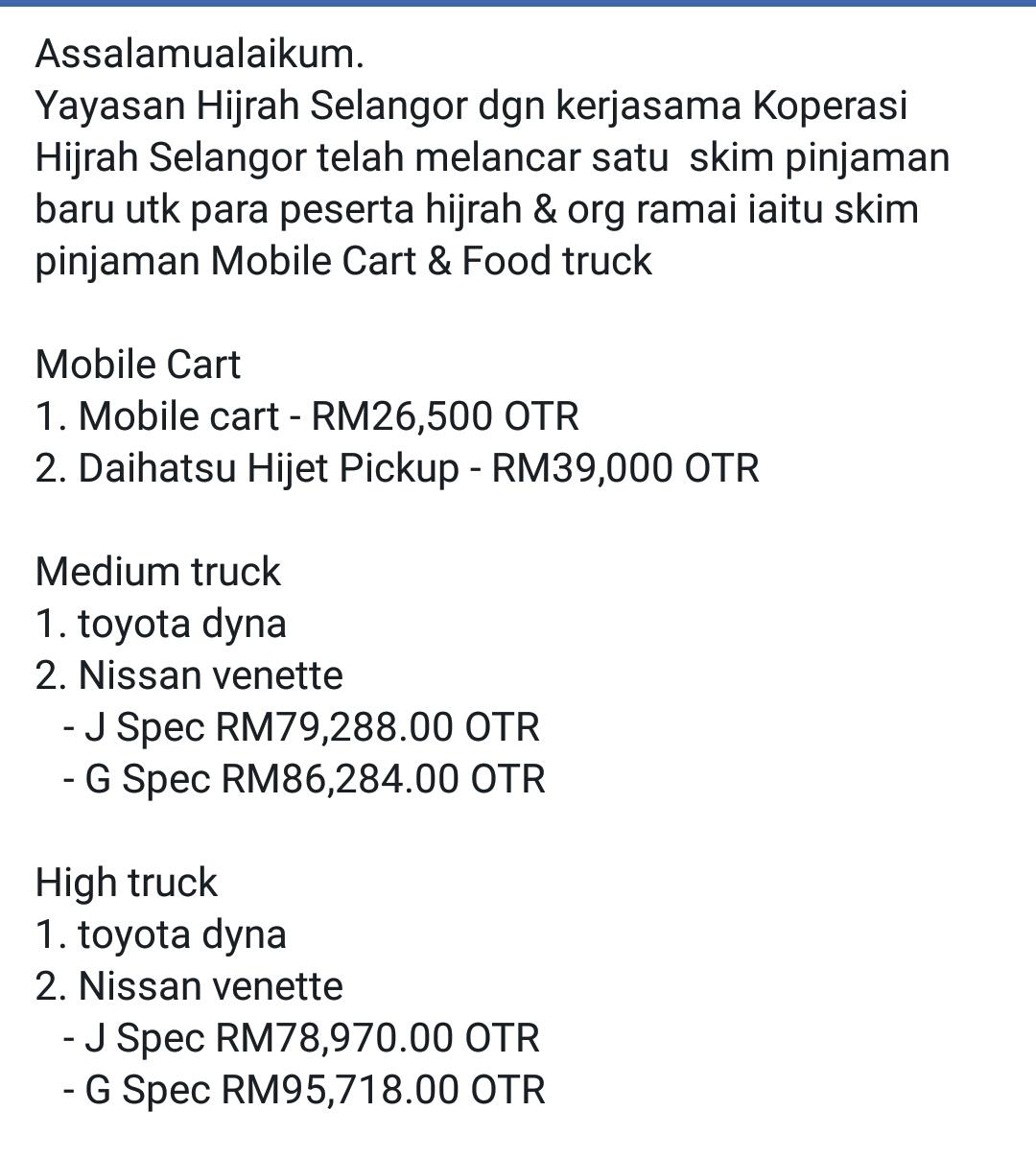 Hijrah Kapar Pinjaman Food Truck