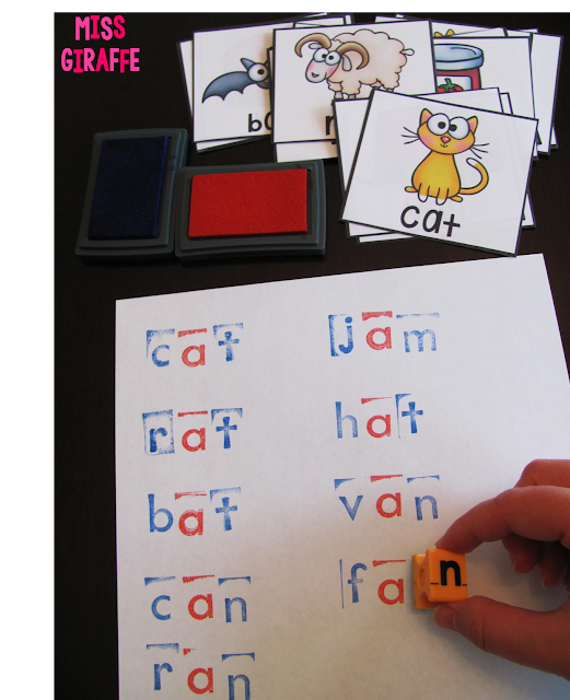 Stamping CVC words and other fun working with words ideas for short vowels