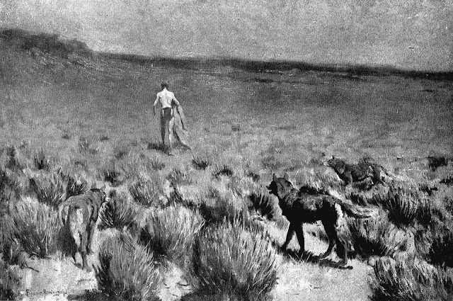 Frederic Remington art, wolves hunt a man slowly and patiently