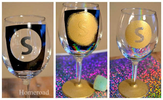 New Years Monogrammed Wine Glasses www.homeroad.net