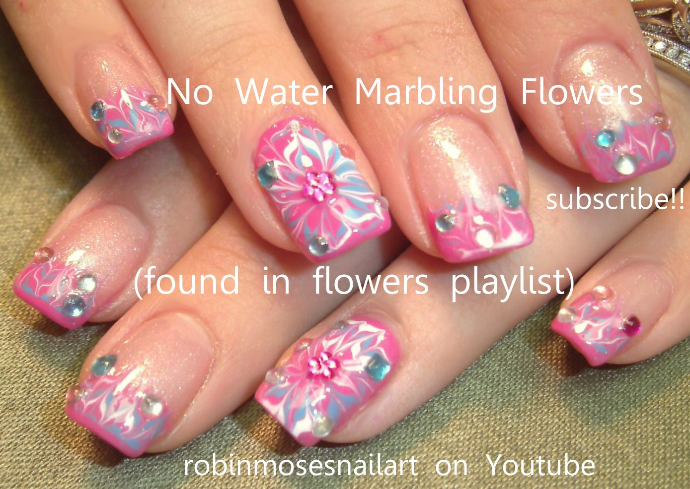 No water marble Flower Nail Art, Marble Flower Nail art, pink and ...