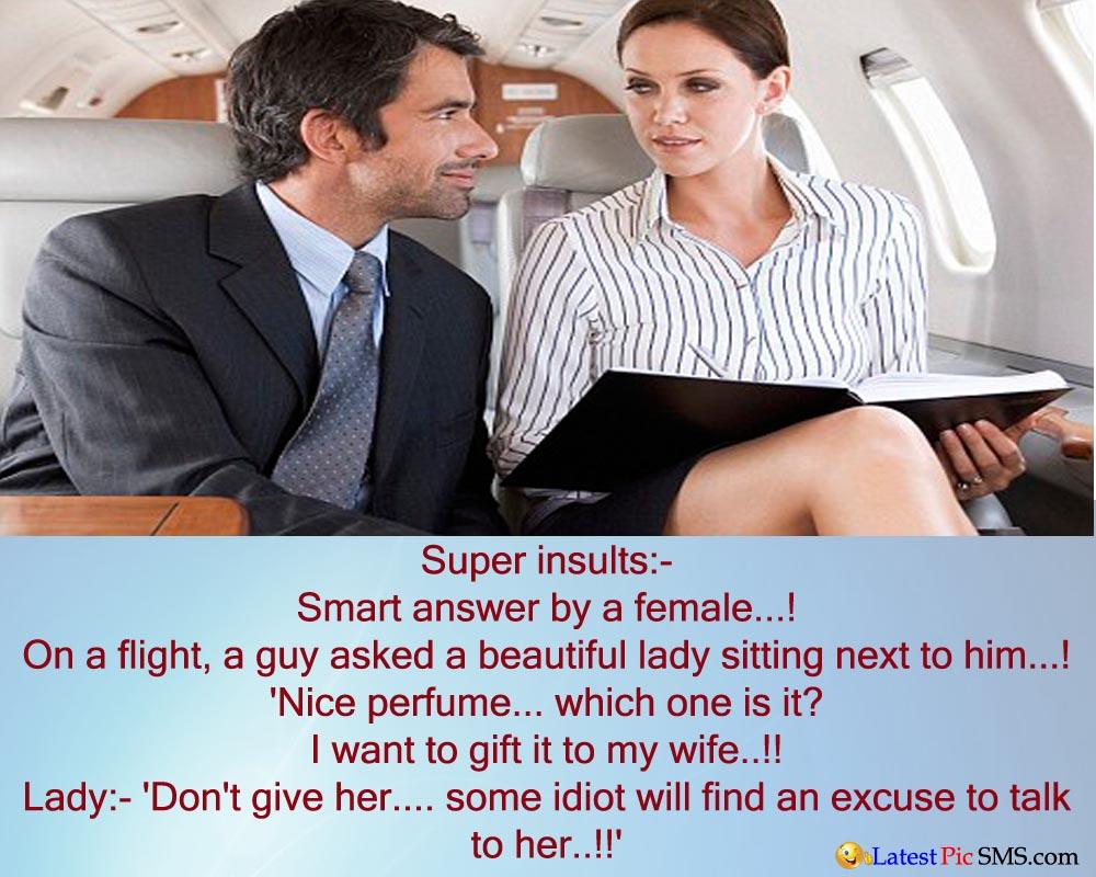 Super insult in flight by smart lady joke