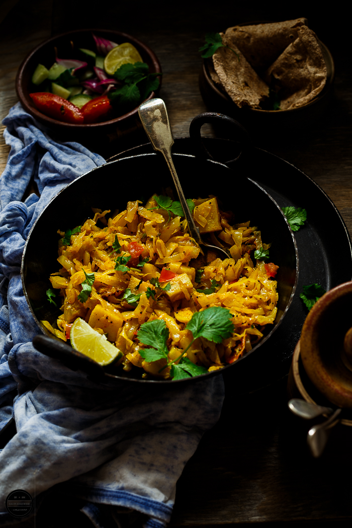 Cabbage Potato sabji is a simply, easy and delicious Indian style curry that can be enjoyed with Roti and Phulka.