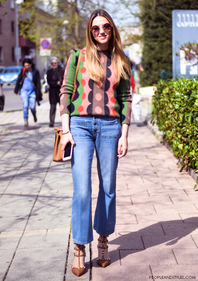 how to wear flares street style Valentino studded shoes Cutler and Gross round sunglasses, Teuta Mesaroš stil