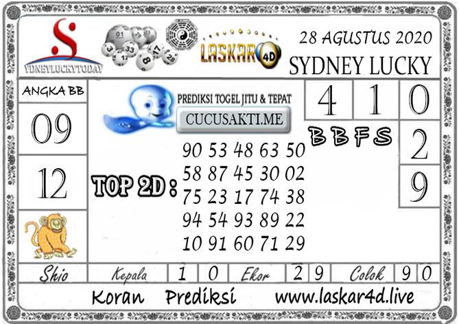Prediksi Sydney Lucky Today LASKAR4D 28 AGUSTUS 2020