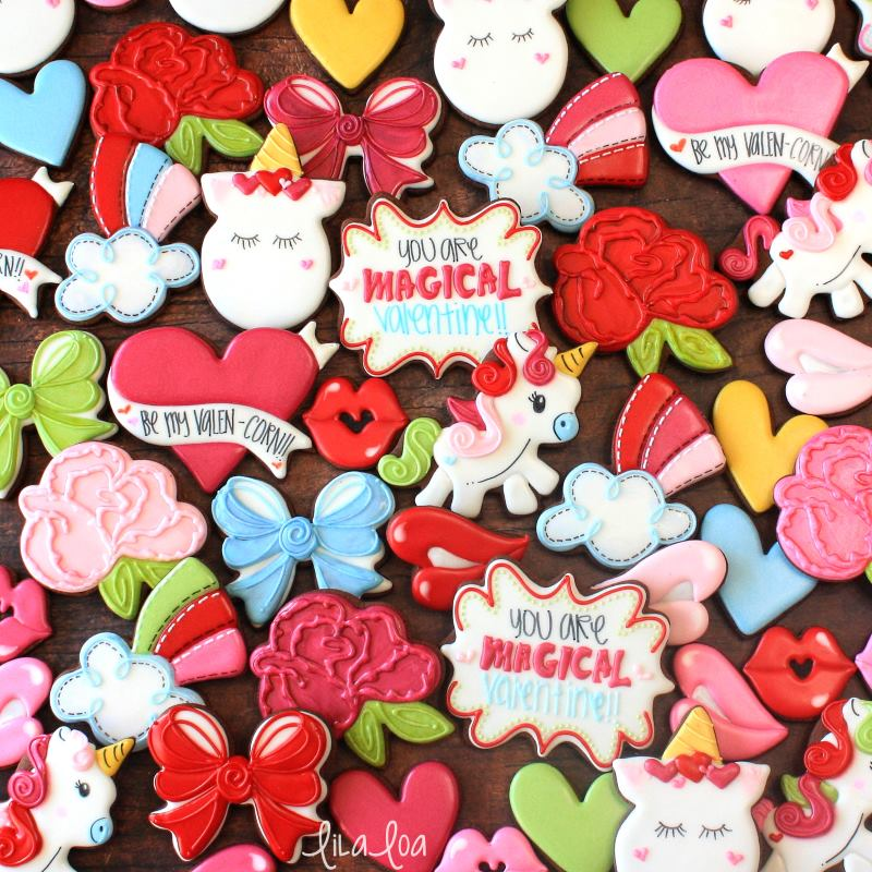 Brightly colored Valentine sugar cookies - unicorns, rainbows, roses, hearts, and bows
