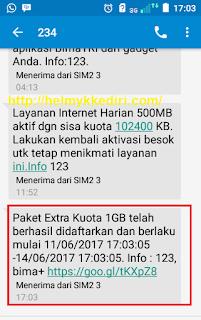Mendapatkan Kuota 1GB Gratis dari Bima+3