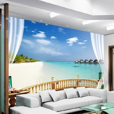 tropisk tapet balkong 3d fototapet hav strand utsikt