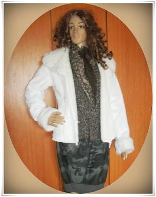 White Winter Jacket, terylen, foarte eleganta!