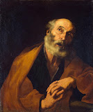 Penitent St Peter by Jose de Ribera - Religious Paintings from Hermitage Museum