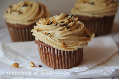 Chocolate cupcakes, made with sour cream and pudding, topped with a peanut butter buttercream frosting, and garnished with chopped honey roasted peanuts and chocolate sprinkles.