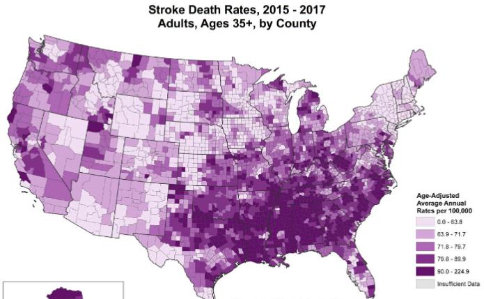 図:脳卒中ベルトの脳卒中死亡率