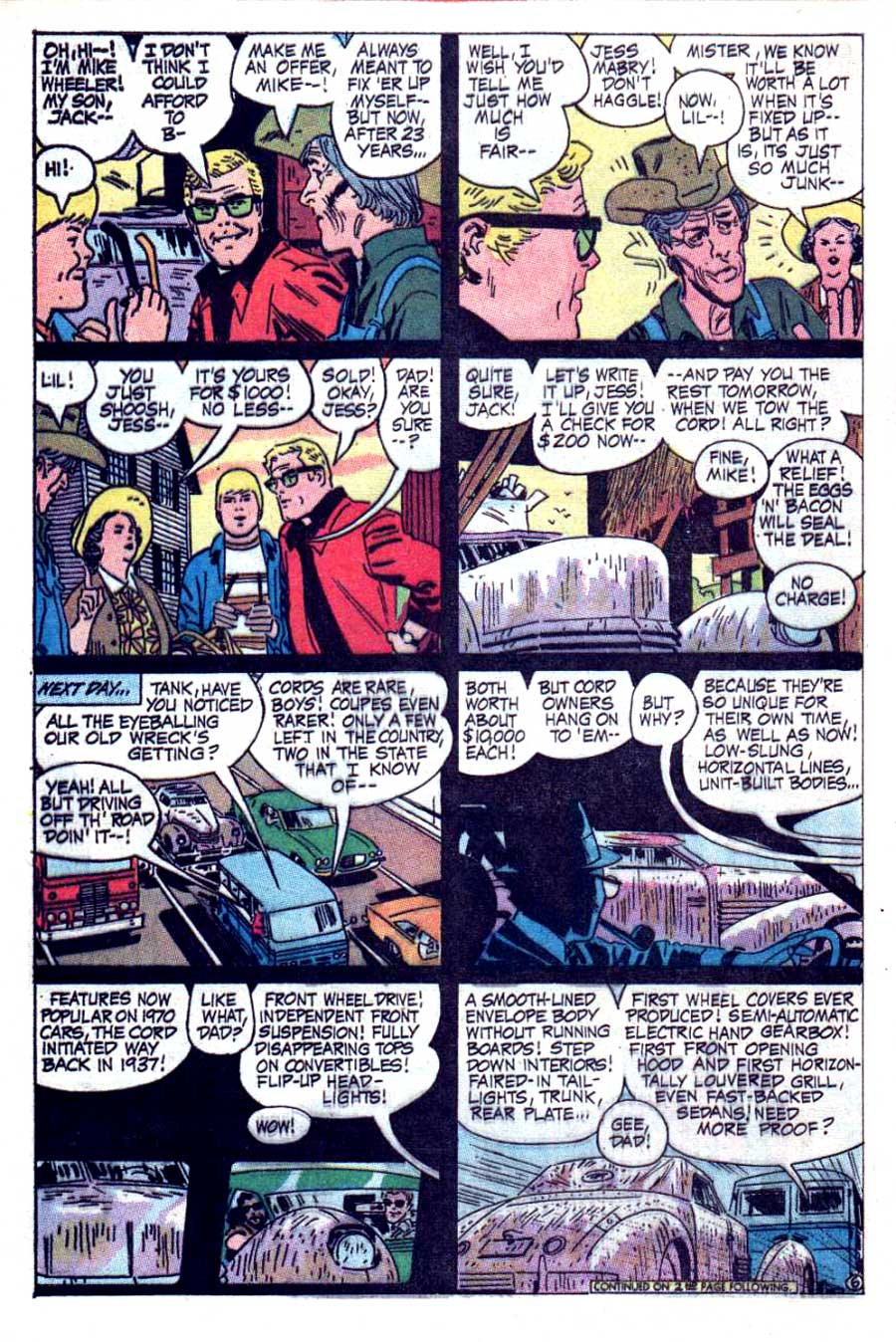 Hot Wheels v1 #5 dc 1970s bronze age comic book page art by Alex Toth