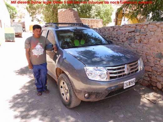 Mit diesem Duster legte Omar 5000 km von Ushuaya bis Esmorouco zurück.