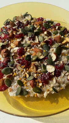 Porridge with seeds, cranberry's and bee pollen