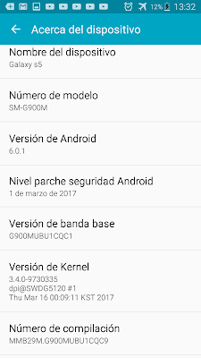 samsung menu acerca del dispositivo