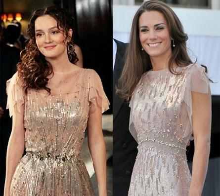Blair Waldorf e Kate Middleton vestido no mesmo estilo