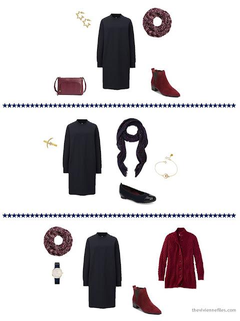 3 ways to wear a navy sweatshirt dress from a capsule wardrobe