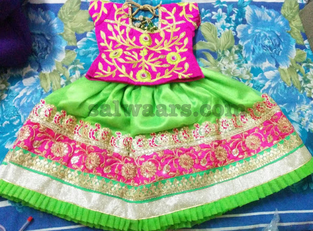 Thread work Blouse Green Lehenga