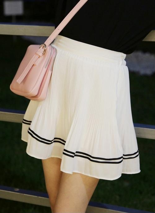 Striped Crystal Pleat Mini Skirt