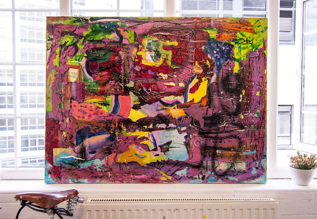 Contemporary Abstract Expressionism Mixed Media Paintings