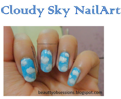Cloudy Sky NailArt Tutorial...