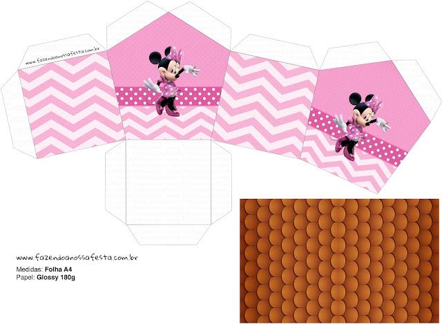 Minnie Rosa: Caja con Forma de Casa para Imprimir Gratis.