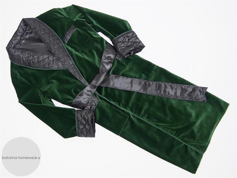 Men\'s Warm Velvet Dressing Gown and Smoking Jacket Robe