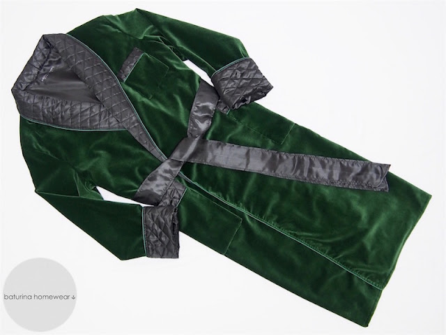 mens velvet dressing gown long warm heavy cotton thick quilted robe smoking jacket