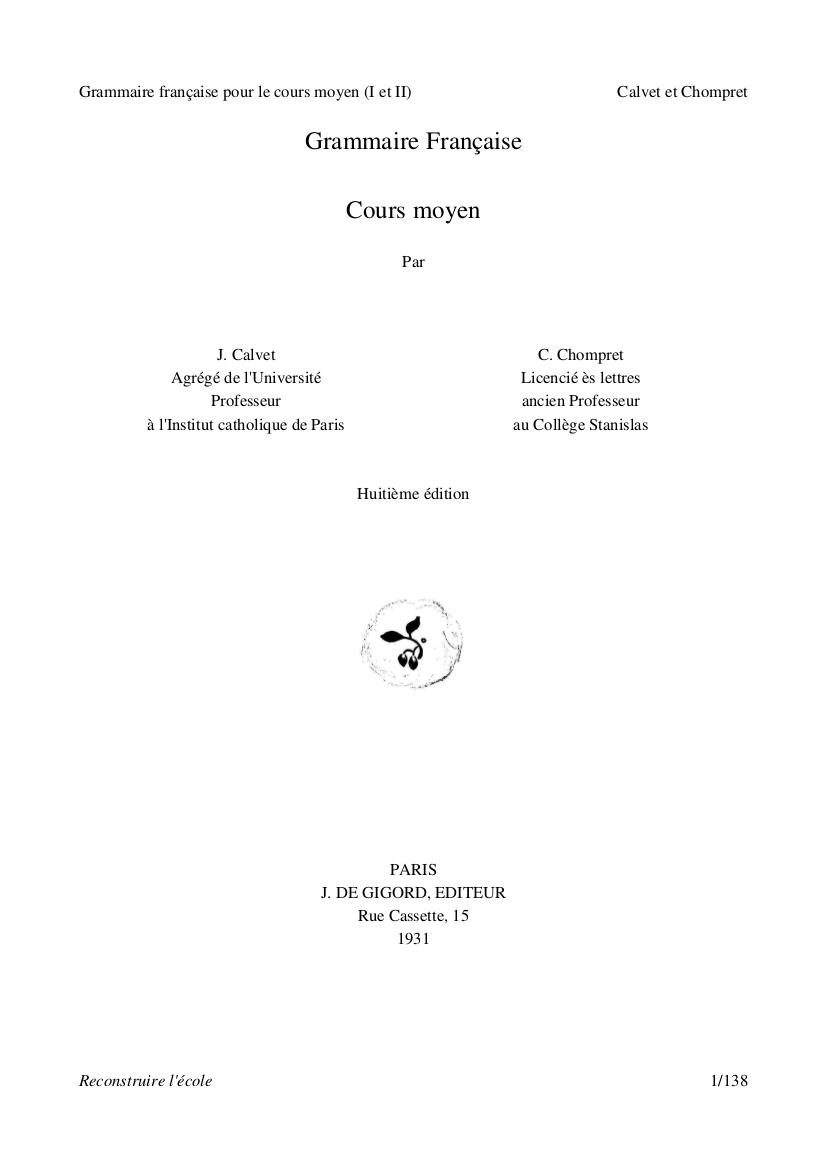 Télécharger Grammaire française cours moyen pdf - J. Calvet et C. Chompret