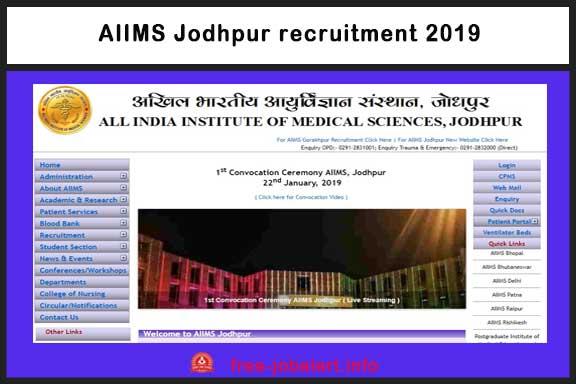 AIIMS Jodhpur Recruitment 2019, AIIMS Jodhpur Vacancy, AIIMS, Medical Jobs, Rajasthan,