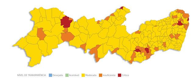 Mapa do resultado geral da avaliação da ICCPE das prefeituras dos municípios pernambucanos 2015