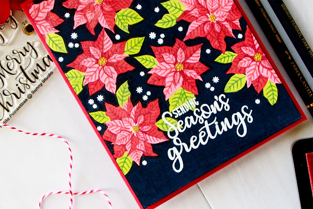 Single Layer Petite Poinsettia & Festive Greetings Christmas Card with Video Tutorial by Yana Smakula