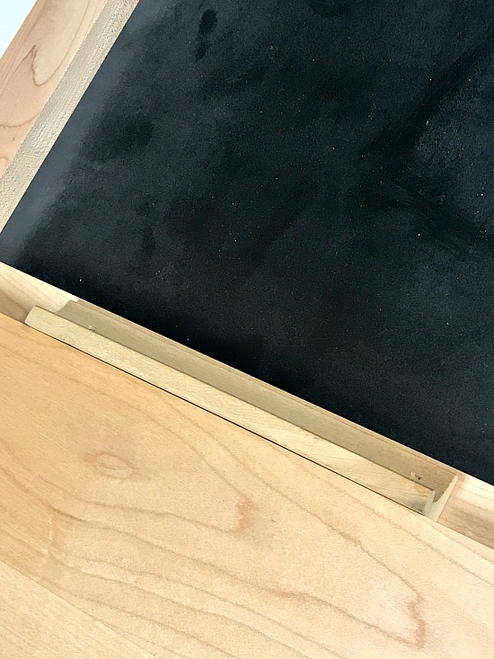 Adding a chalk holder to a repurposed cabinet