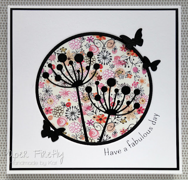 Flower stem and butterfly silhouette card