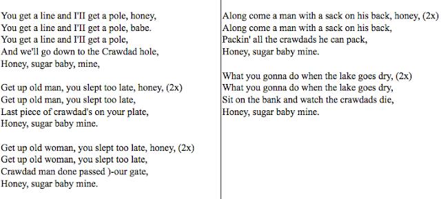 lyrics to the crawdad song
