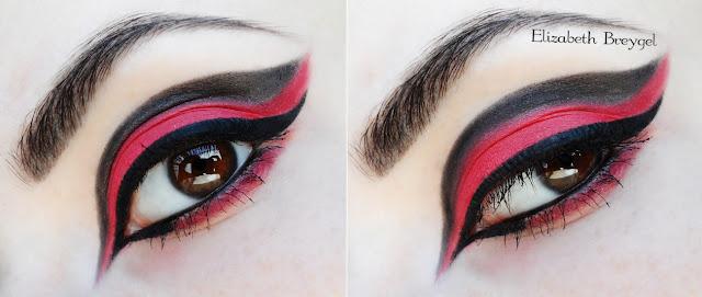 red make up, eagle eyes