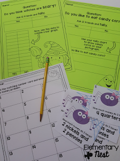 Halloween math centers- October Activities for a primary classroom- PLUS a freebie!